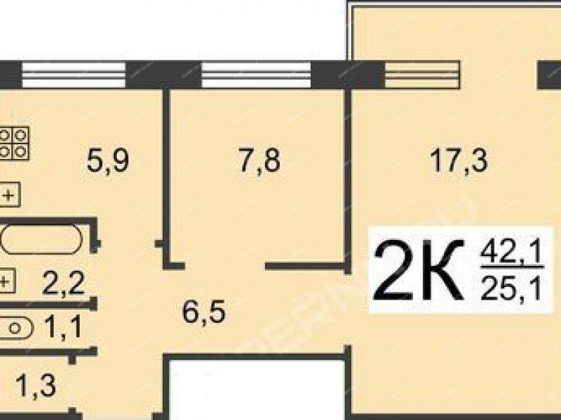 двухкомнатная квартира на улице Дьяконова дом 40 к1