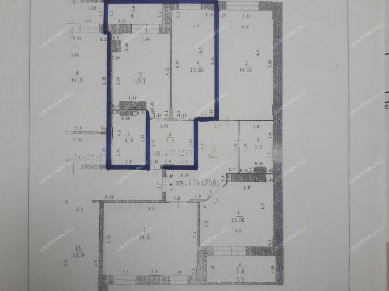 однокомнатная квартира на улице Луначарского дом 208 к1 город Бор