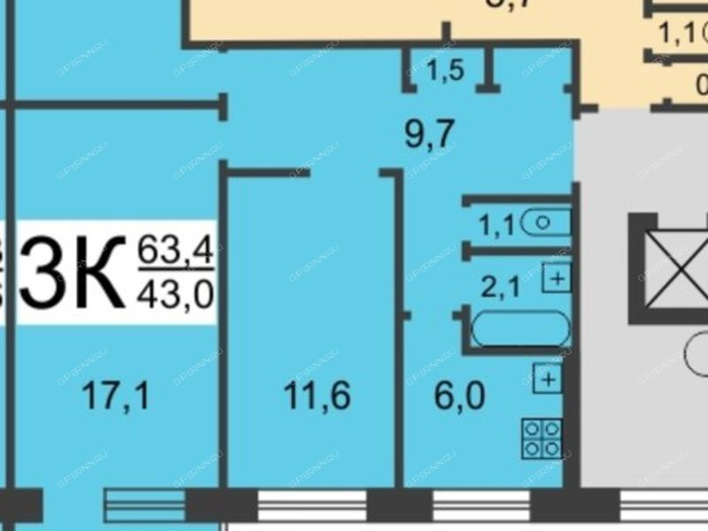 трёхкомнатная квартира на проспекте Бусыгина дом 16