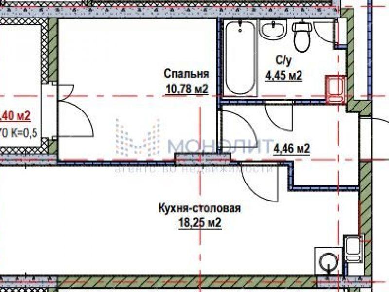 однокомнатная квартира в новостройке на Русской улице улице деревня Анкудиновка
